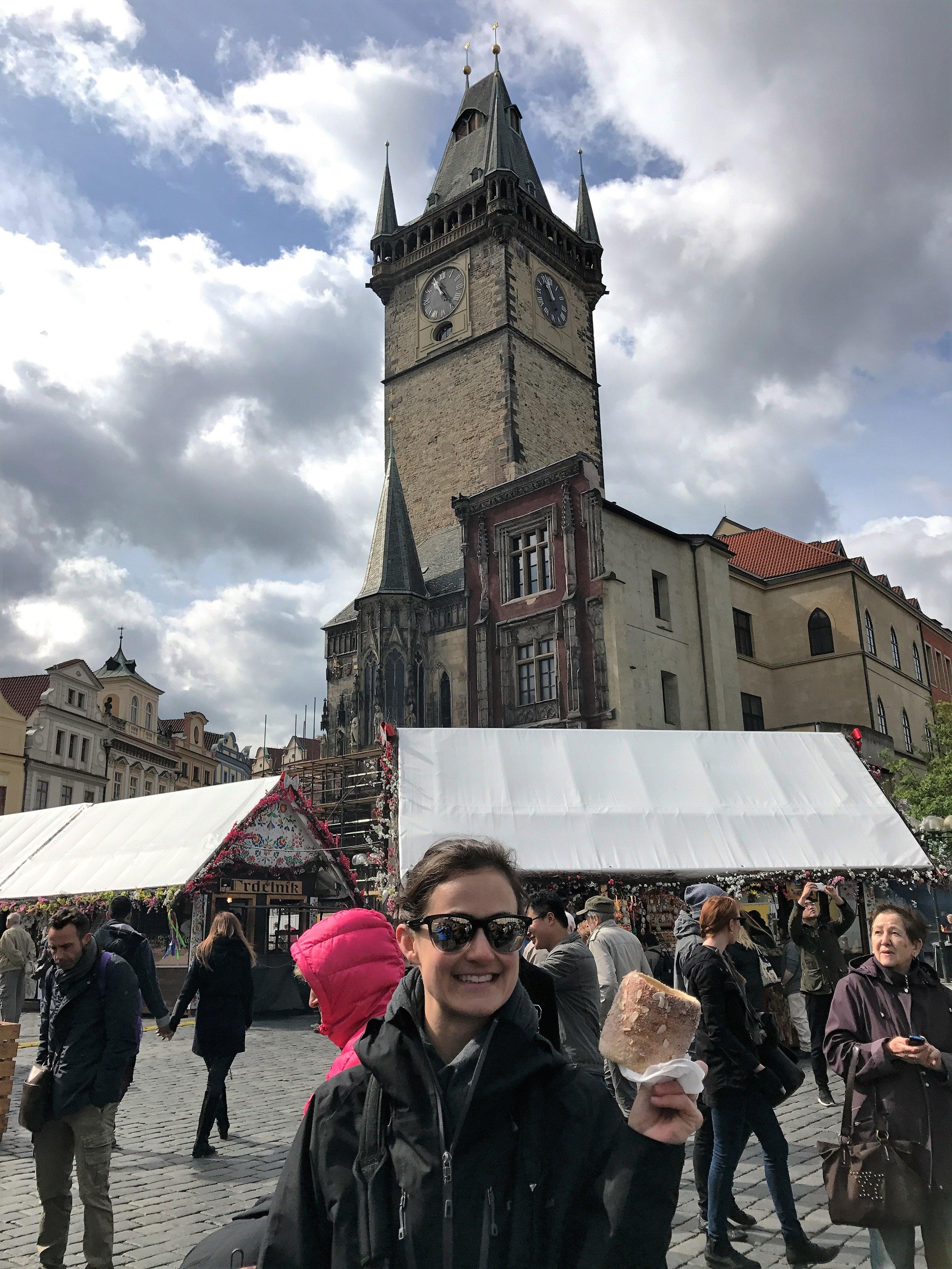 Kirby enjoying a Trdelnik at the market in Prague