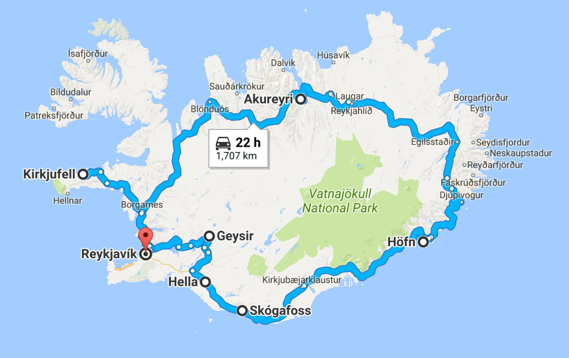 Our 8-day route