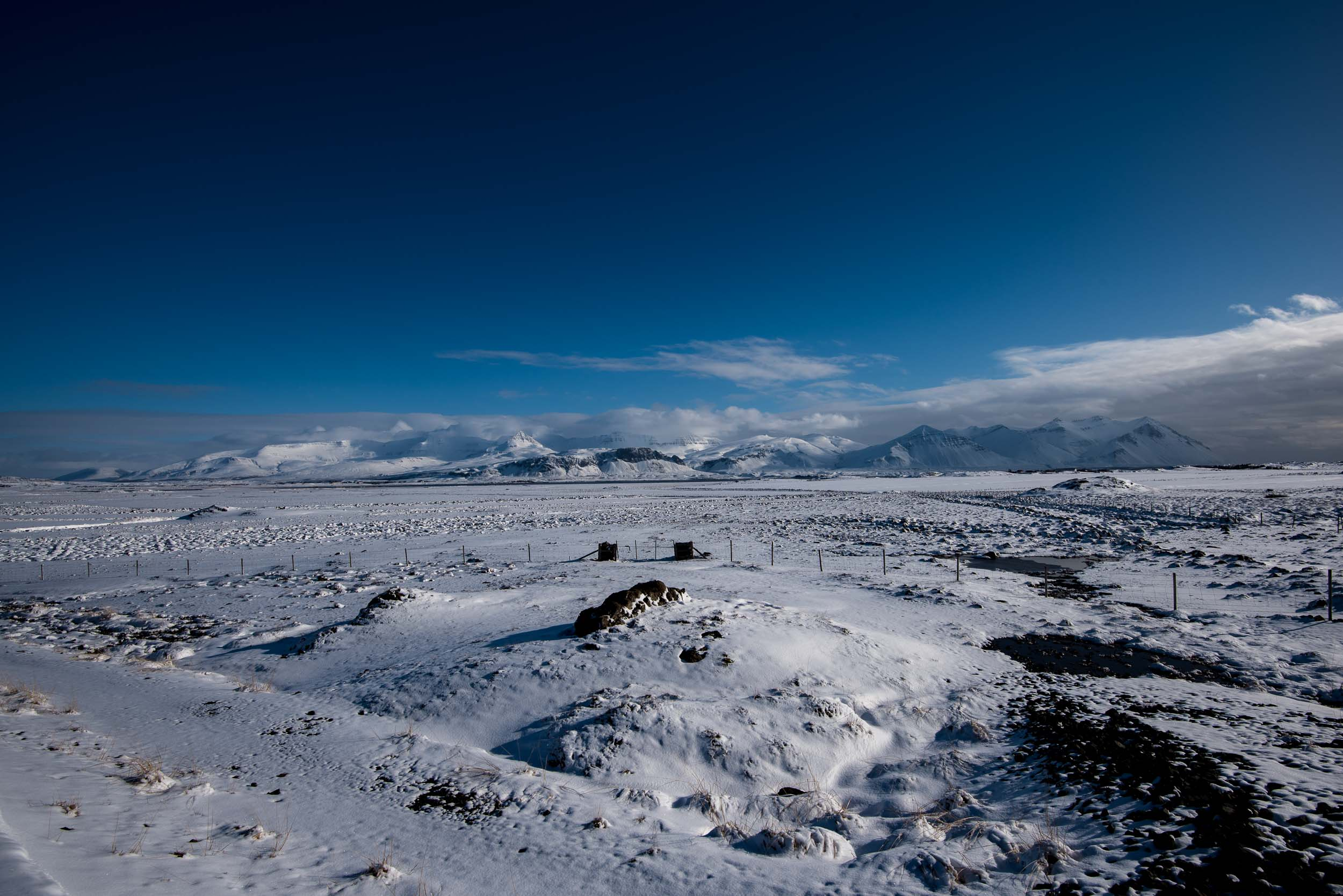 Snowy valley somewhere in Northern Iceland