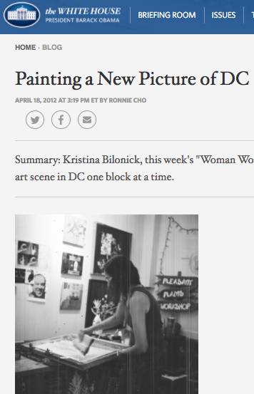 April 18, 2012, The White House Blog (Barack Obama), ' Painting a New Picture of D.C.'  by Ronnie Cho
