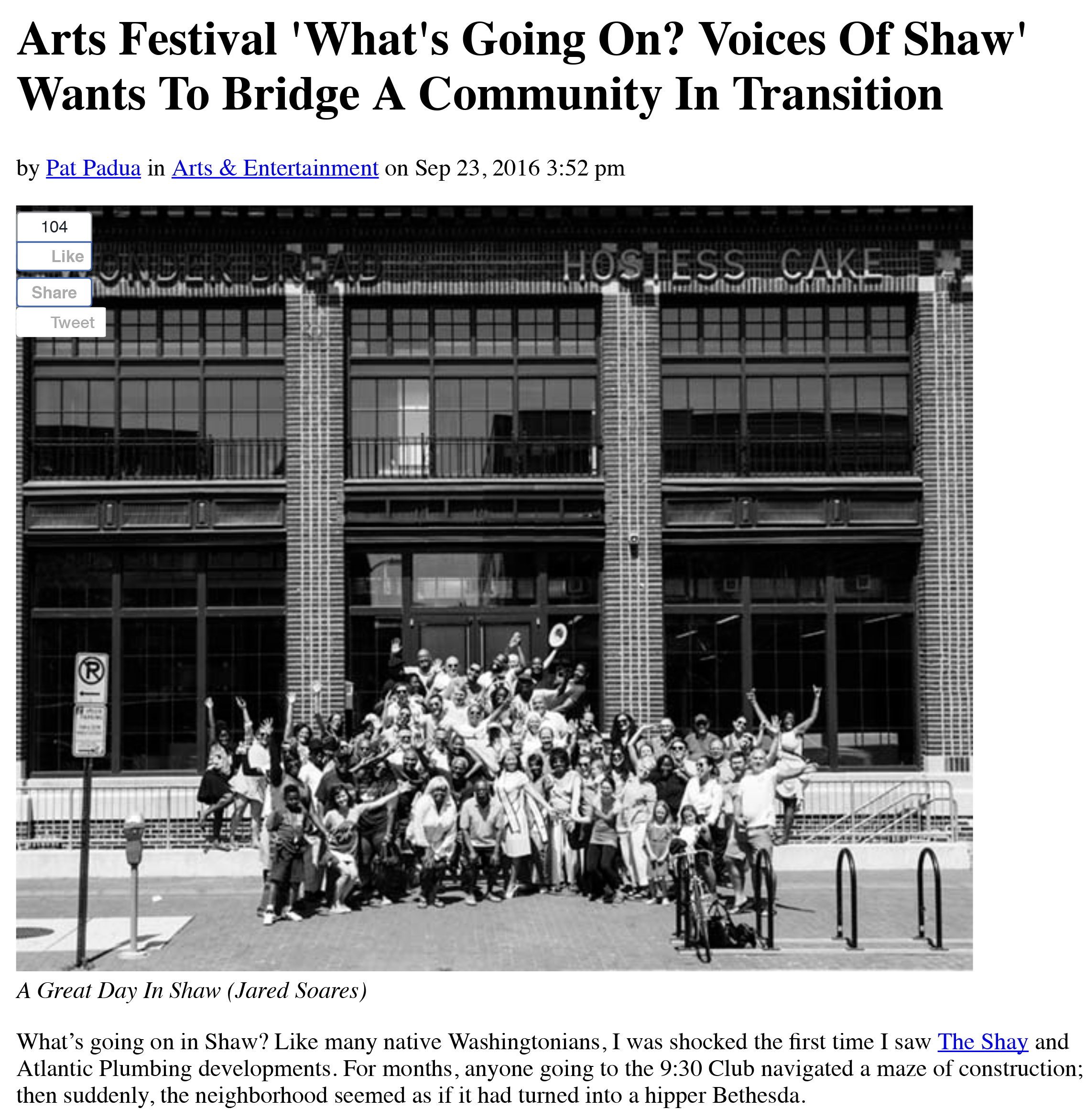 September 23, 2016, DCist, '' What's Going On? Voices Of Shaw' Wants To Bridge A Community In Transition ' by Pat Padua