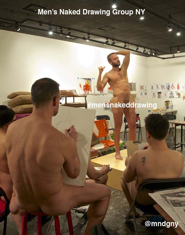 Inaugural naked drawing session, January 2015, photo by Alex P.