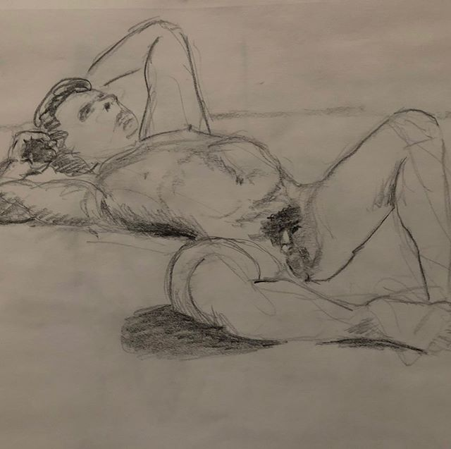 A drawing from our #SanFrancisco chapter. #SF Free to join https://mensnakeddrawing.com #malebeauty #mensnakeddrawing #nudist