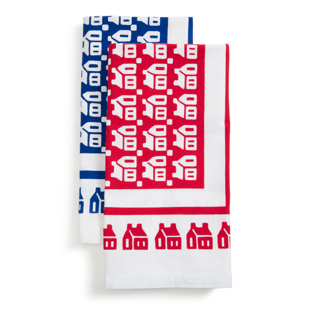 Little Red Schoolhouse  Dish Towels   Set of 2, organic cotton, 25 x 17 in.