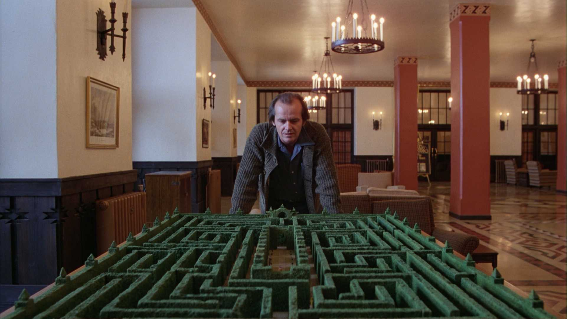 The miniature hedge maze of the Overlook Hotel in  The Shining  (1980)