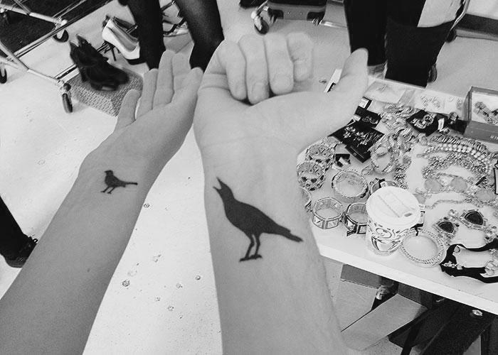 Anne-Élizabeth Bossé and I with matching tattoos