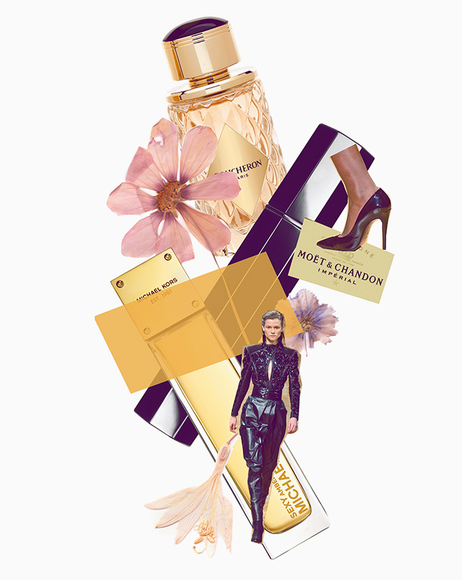 ELLE Québec Magazine; Beauty collage illustration and editorial design by Toronto/Montreal based creative directior / art director Guillaume Brière