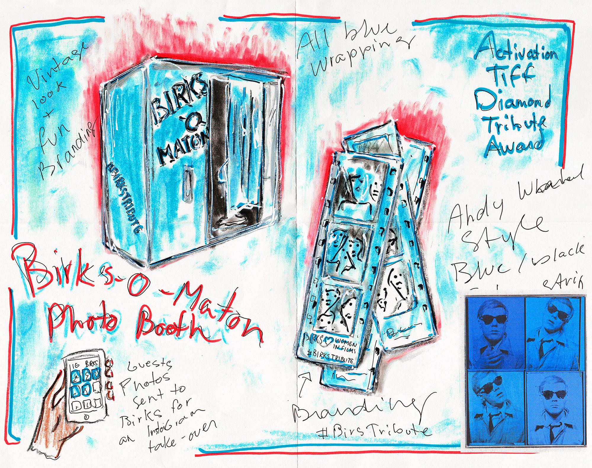 Concept sketch of the Birks Diamond Tribute Award activation at TIFF 2018.
