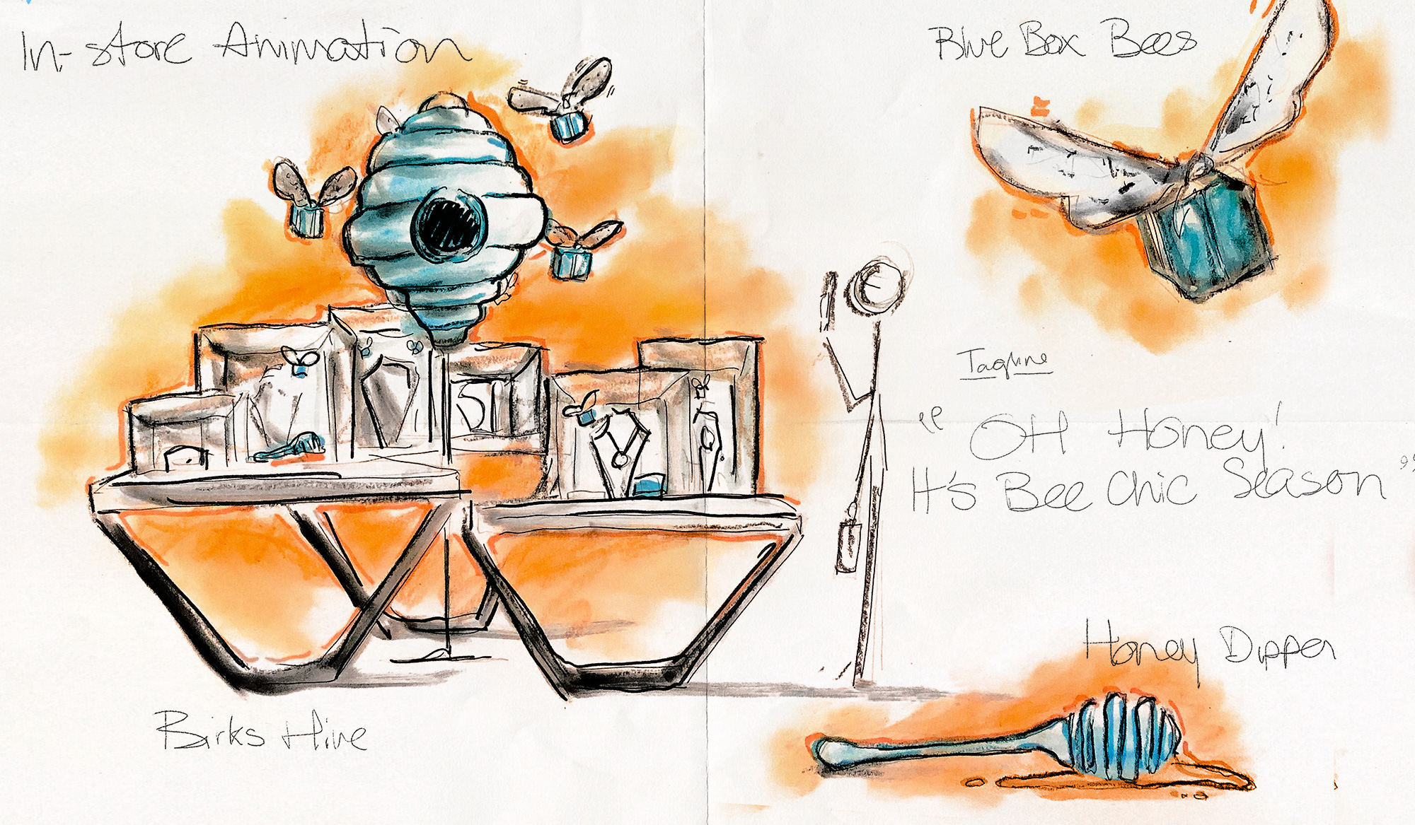 Concept sketch for in-store animation