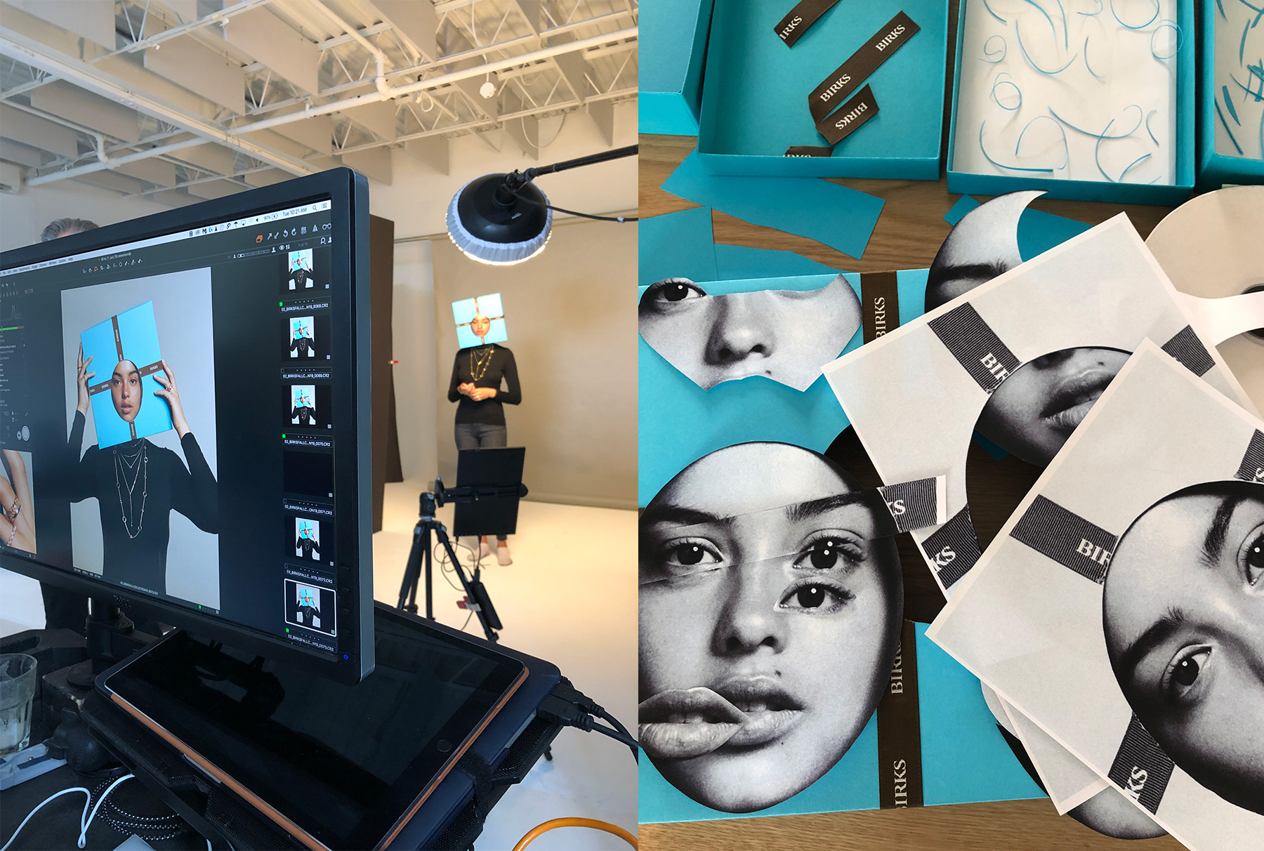 The making of Birks' Fall 2019 campaign by Guillaume Brière: On set with model Jessica (Dulcedo) and photographer duo Leda & St.Jacques (left). Meanwhile, live collage work also happened on set for the still life photography series (right).
