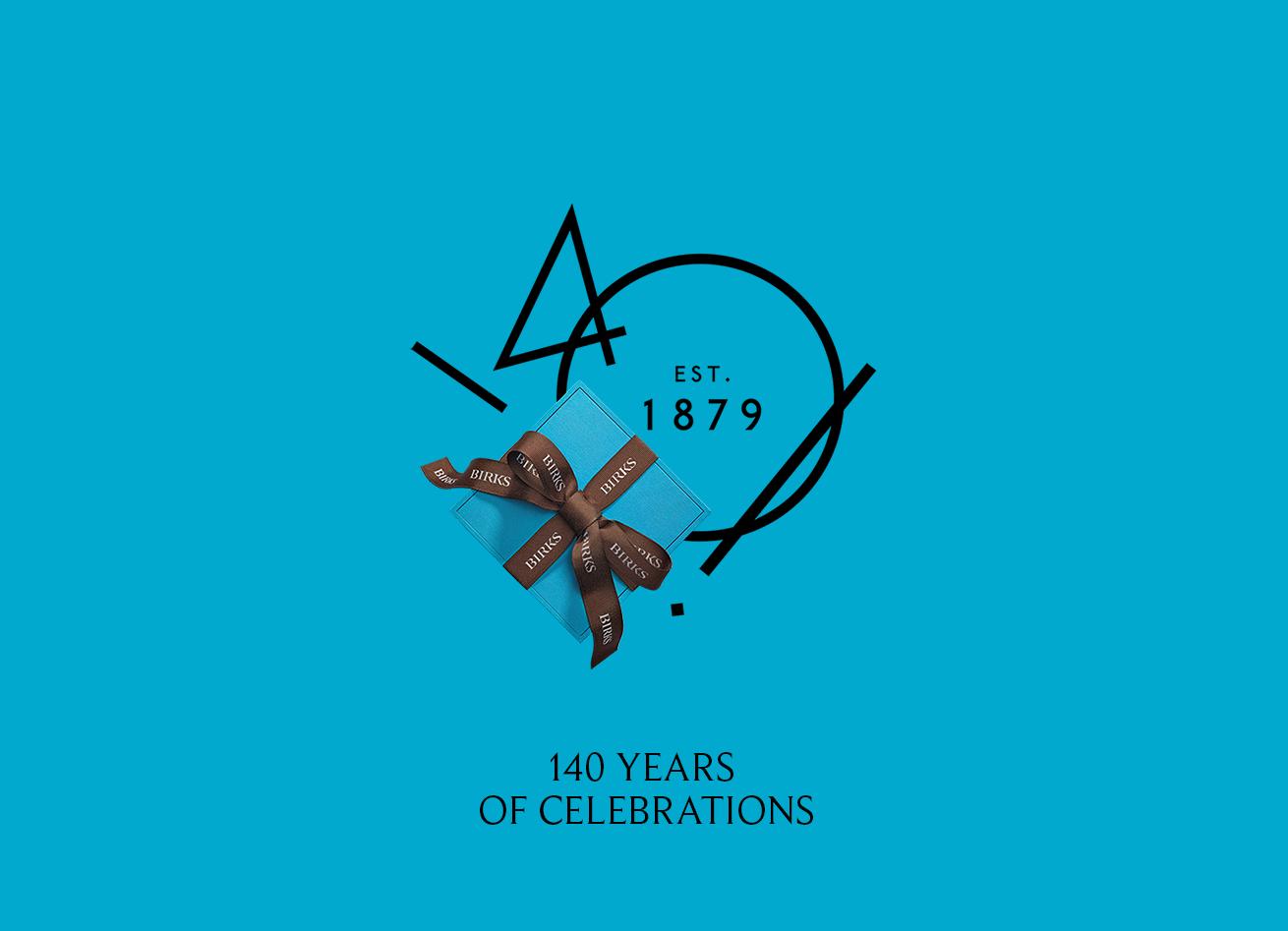 The Birks 140th anniversary logo and signature