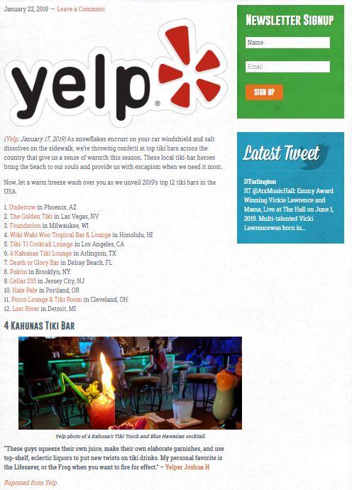 Yelp.com's Top 12 Tiki-tastic Bars in the U.S.