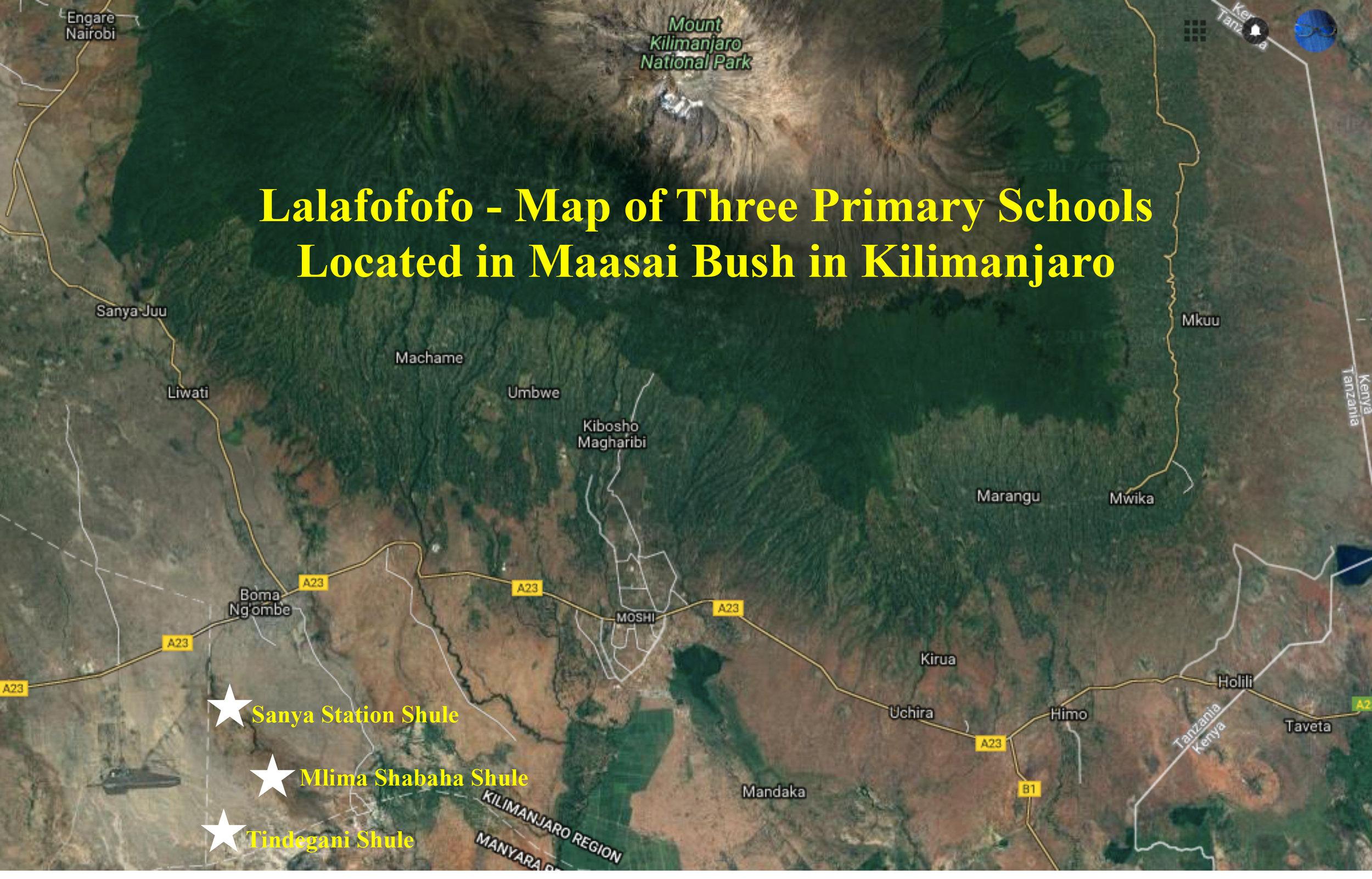 The three Lalafofofo school sites (bottom left) and their proximity to Mt. Kilimanjaro.