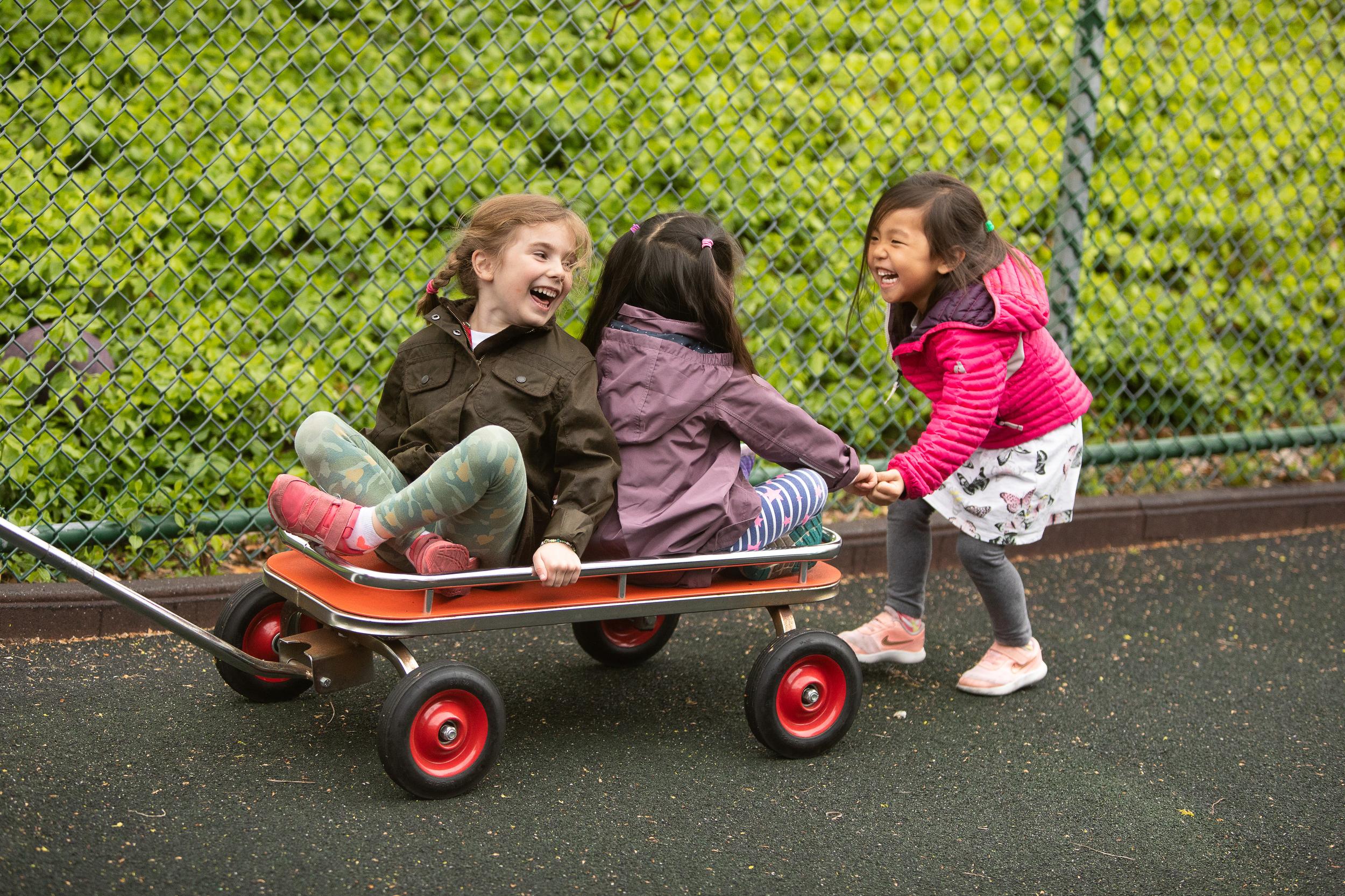 Students play in a school yard