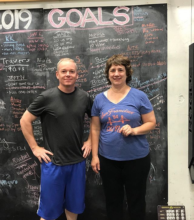 "Meet New Members: Jim & Janet. ⁣ ⁣ ""Hi, I'm Jim, I'm just trying to survive!"" ⁣ ⁣ ""Hi, I'm Janet and I'm ready yep start chasing the RX."" ⁣ ⁣ #CrossFitPallas #PallasFitness #Community #Coaching #Fitness #CrossFit #Yoga #Core #Pregnancy #Postpartum #WomensWellness #Functional #Health #Wellness #Gym #Ithaca #FLX"