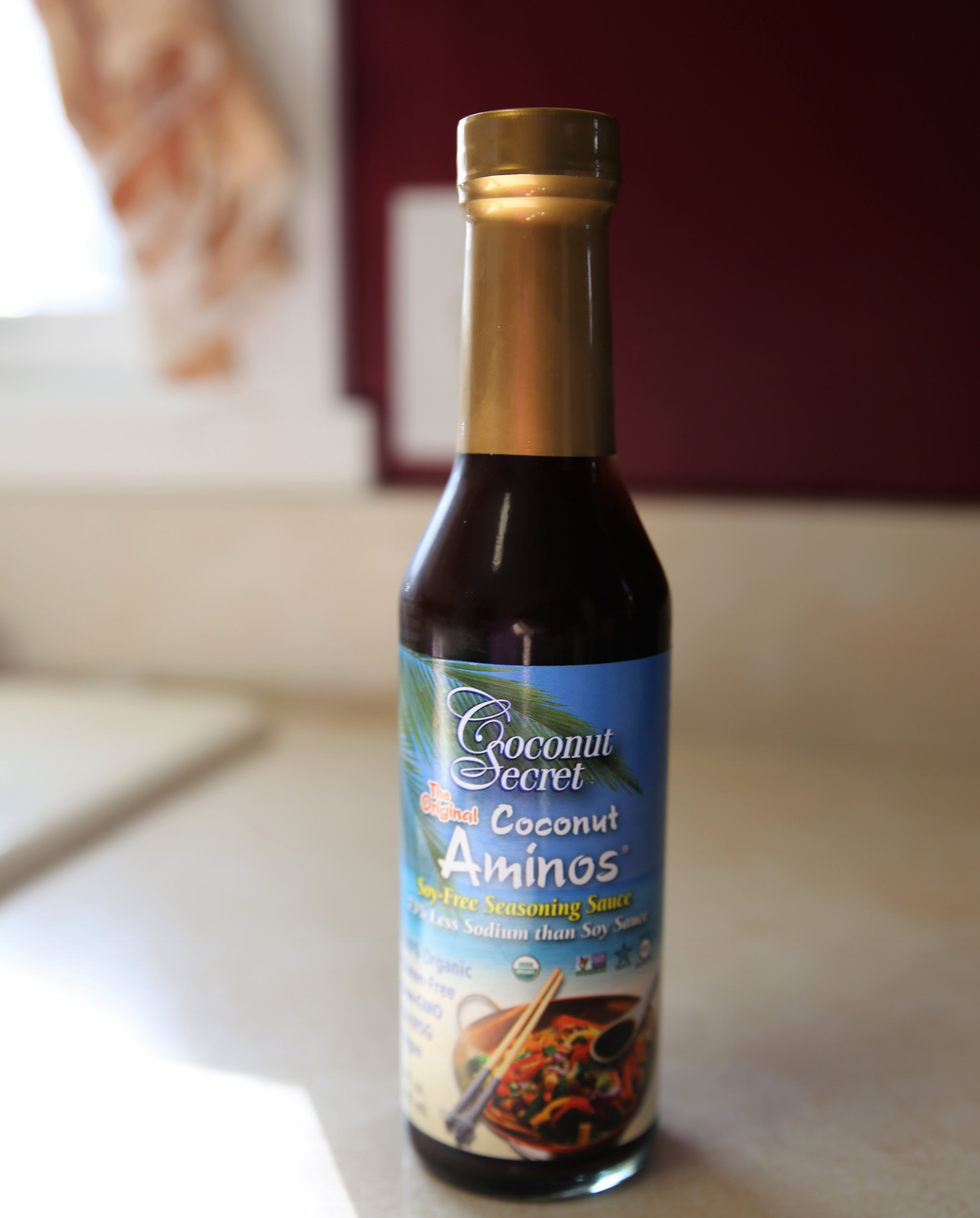 Coconut Aminos - Excellent alternative to soy sauce! Tastes great in stir-frys and marinates. Best price on Thrive Market online, also available on Amazon or ate Whole Foods and Fresh Thyme.
