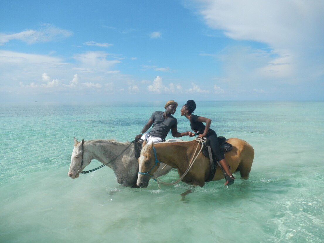 September 2015: Horseback riding in the beautiful Bahamas.