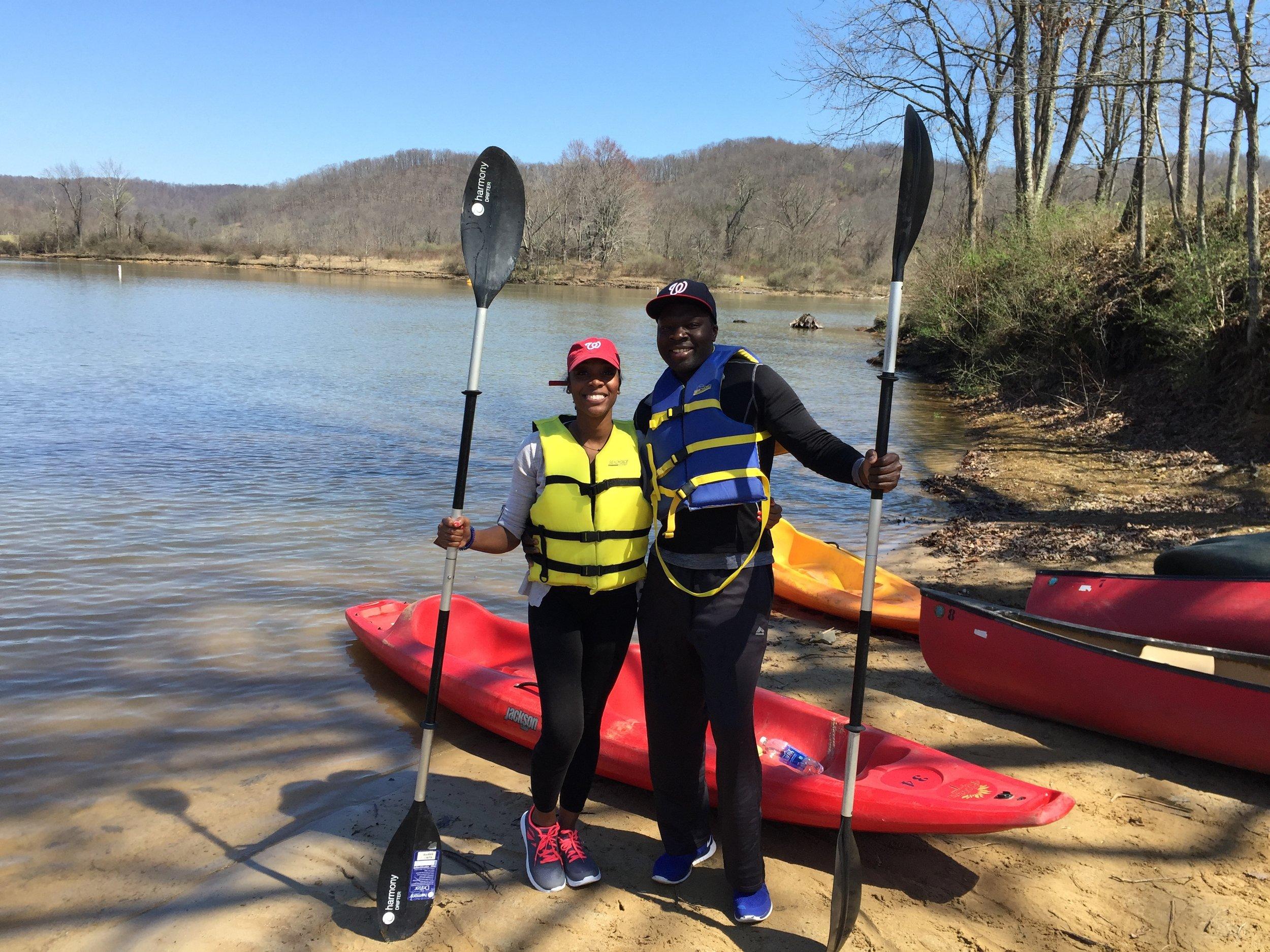 Getting ready to Kayak in West Virginia. Celebrating Tolu's 33rd birthday.