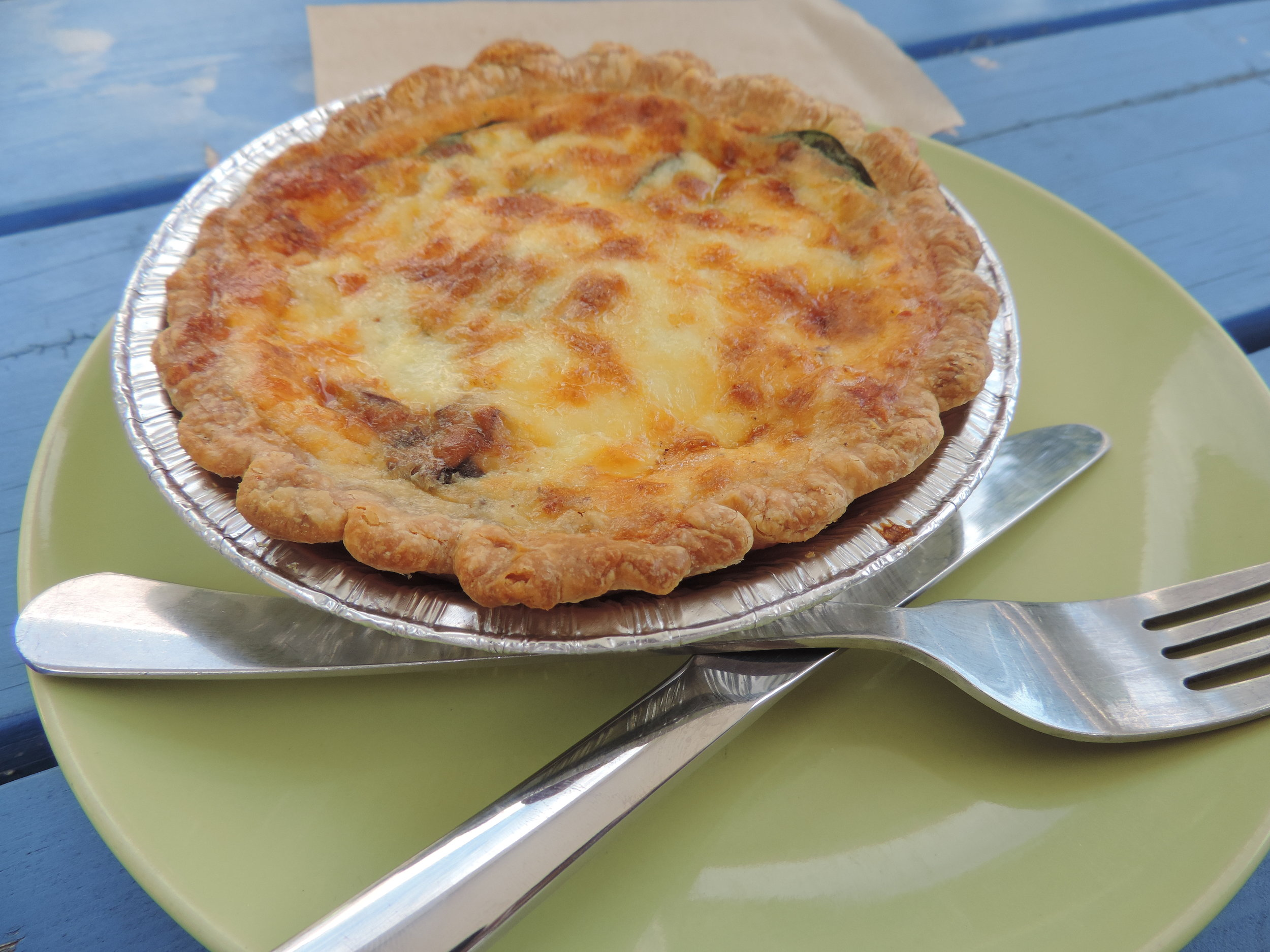 Cheesy and vegetarian quiche, $12.50