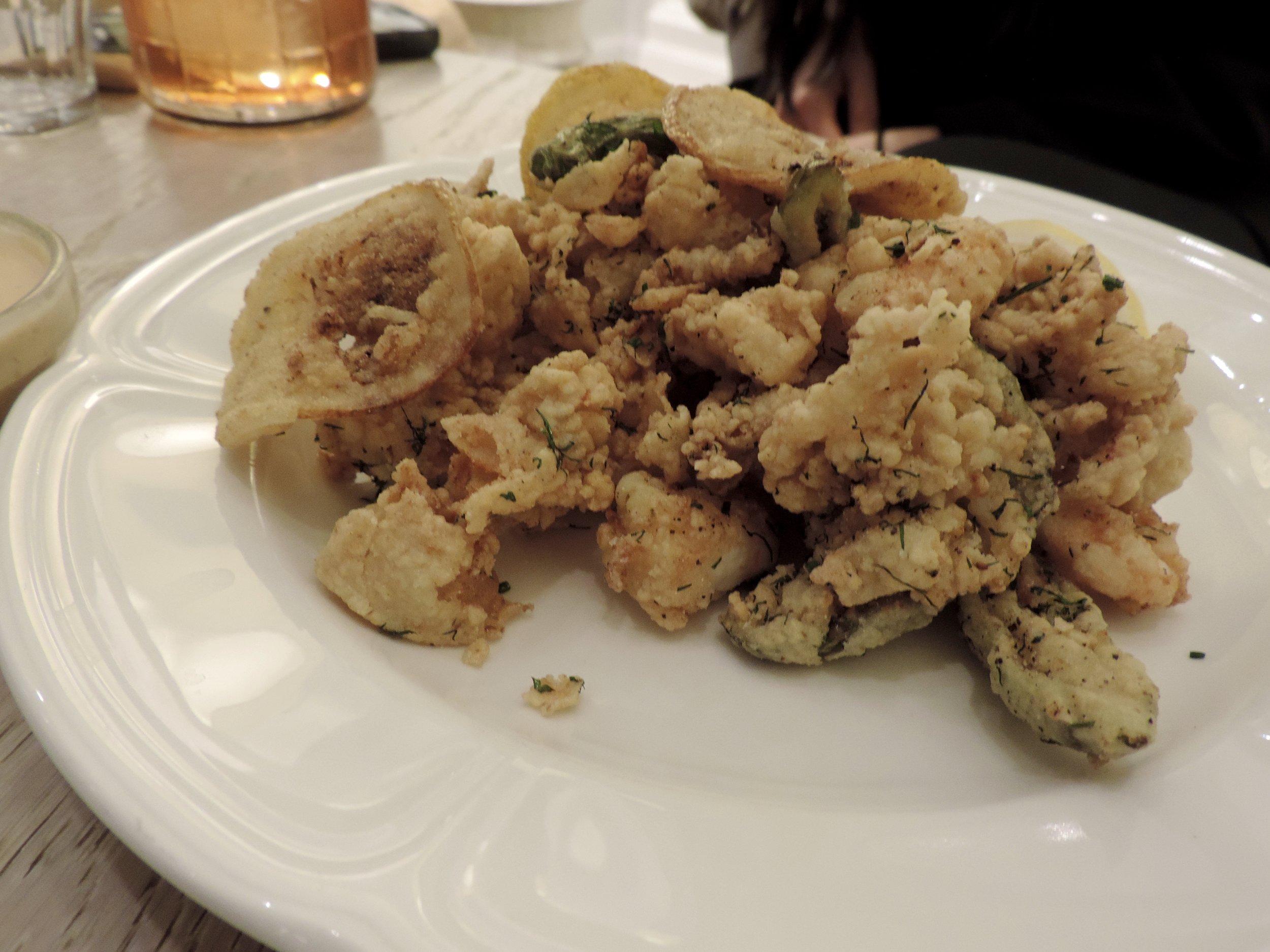 Torino Fry - calamari, side-strip shrimp, shishito peppers, spicy japanese mayonnaise