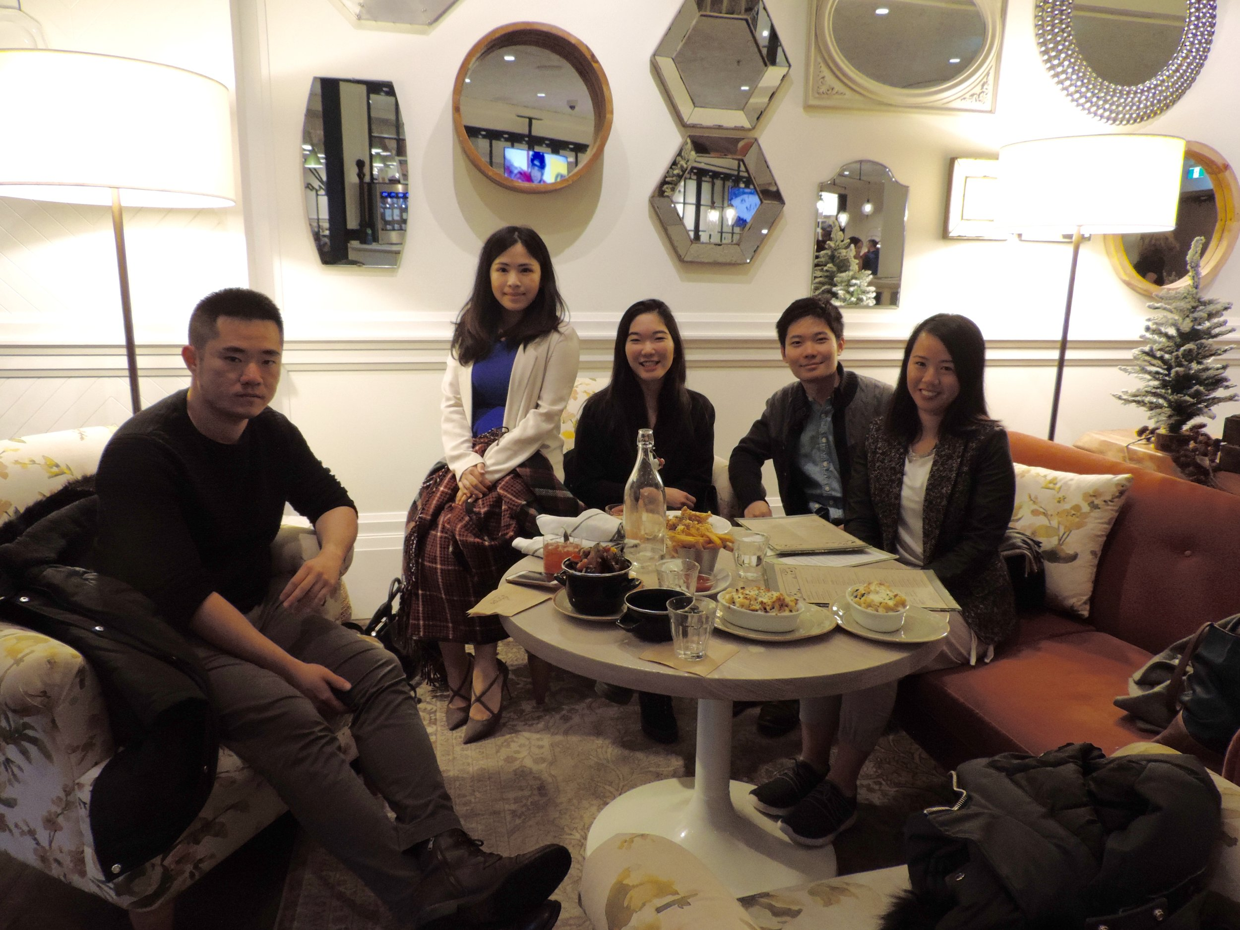 Our happy and ready-to-dine group, missing our very energetic go-getter friend Jen Liu who was visiting from New York :D