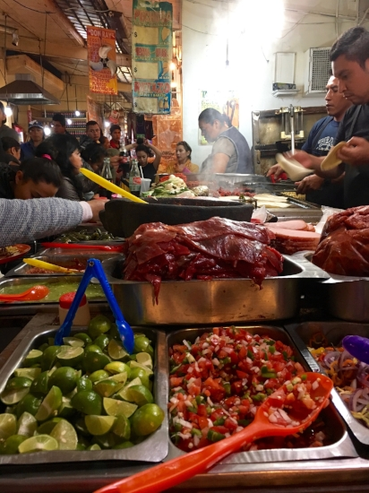 Fresh tacos made as you order on the walking tour of la Merced with Eat Mexico.