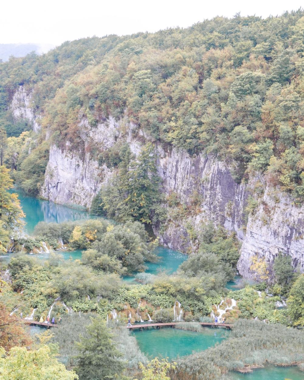 The gorgeous teal Plitvice Lakes.