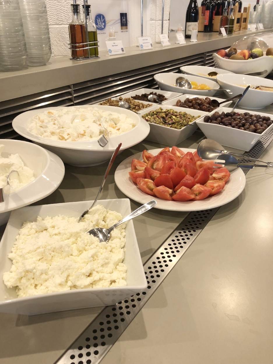 Fresh feta and yogurt made from the goats on the grounds, and fresh tomatoes grown steps from your room.