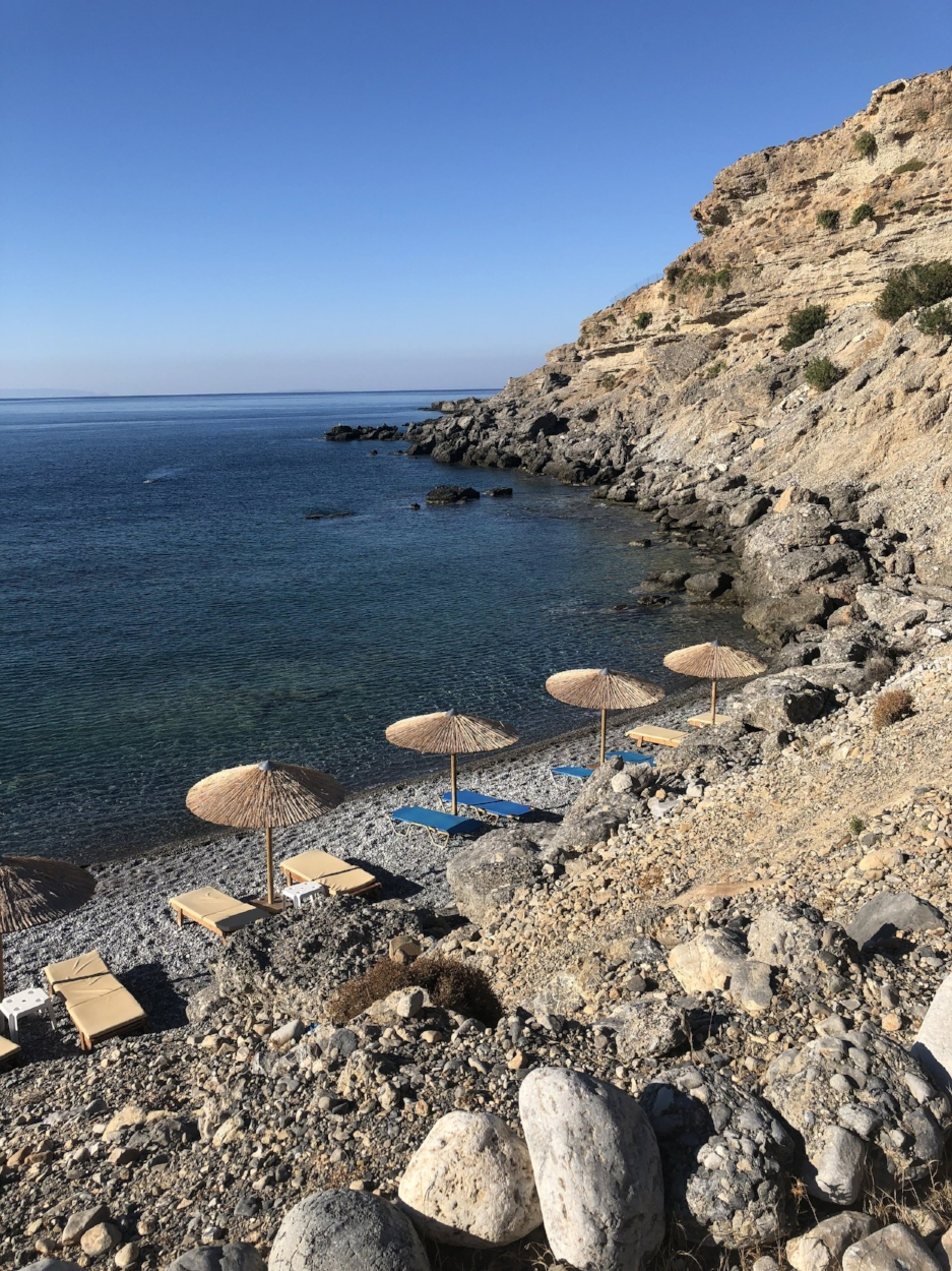 This beach is picturesque, and is rarely visited by anybody other than Vritomartis Guests.