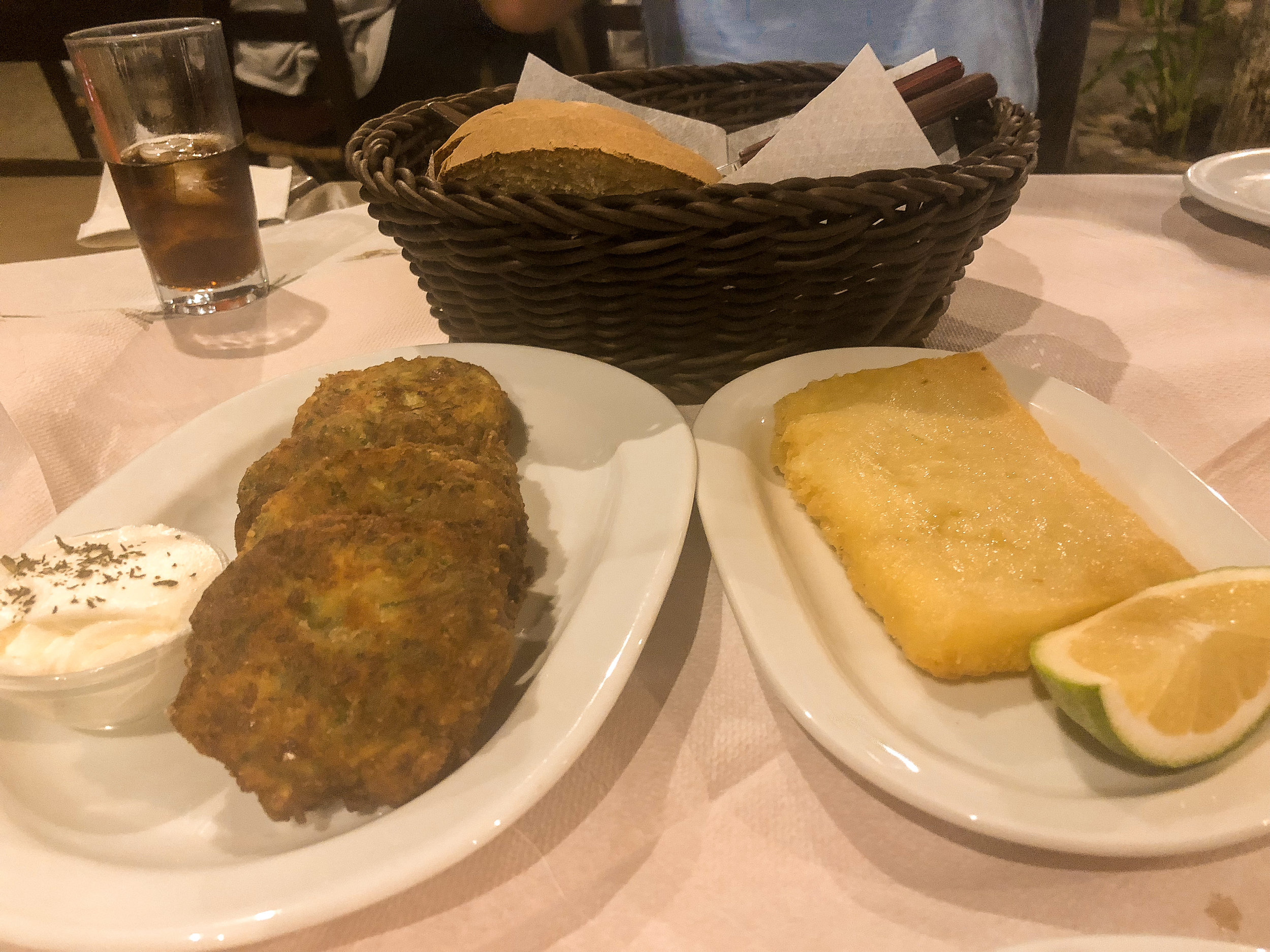 Delicious zucchini fritters and saganaki at Platanos