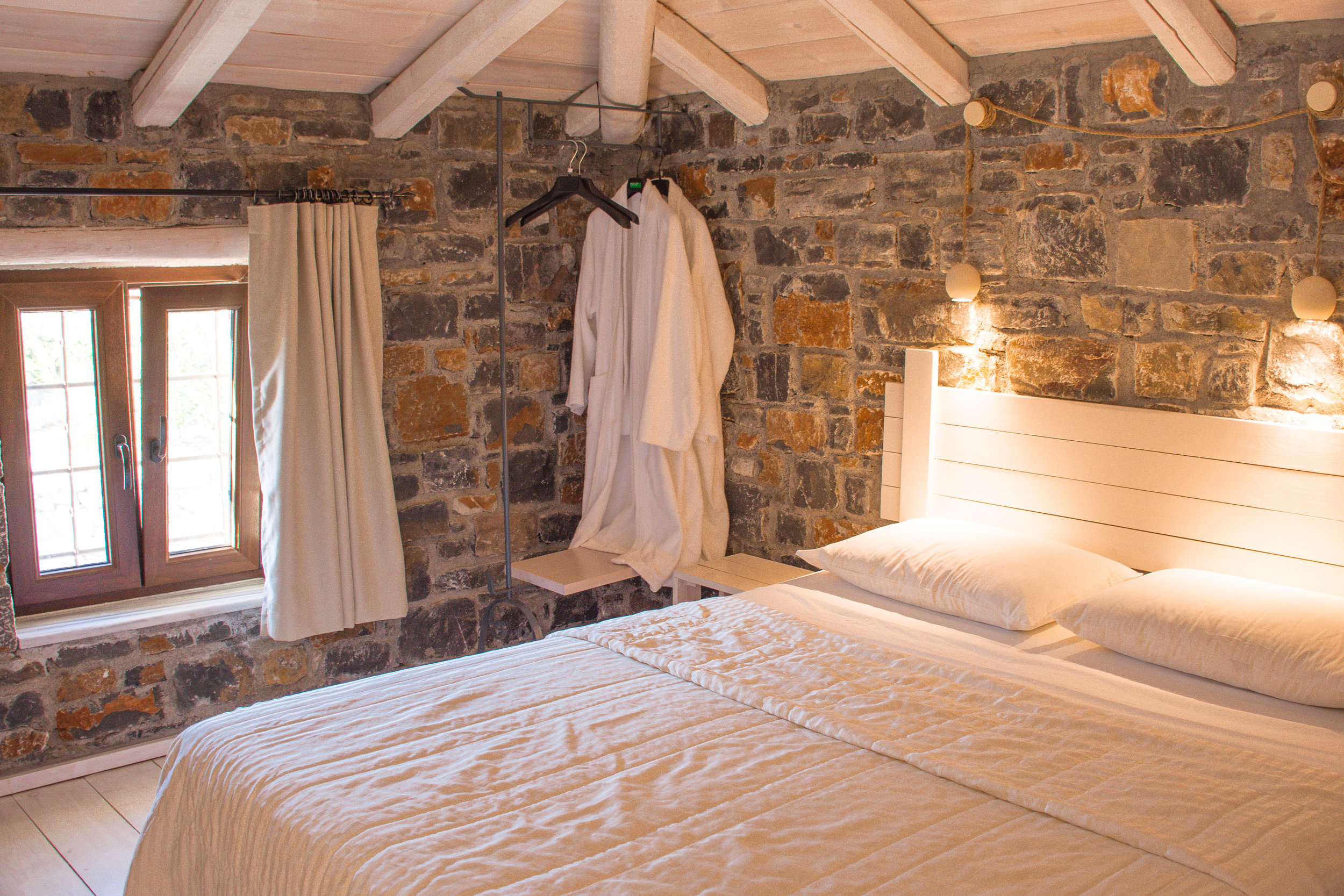 Gorgeous farmhouse touches everywhere, and the comfiest of robes are provided.