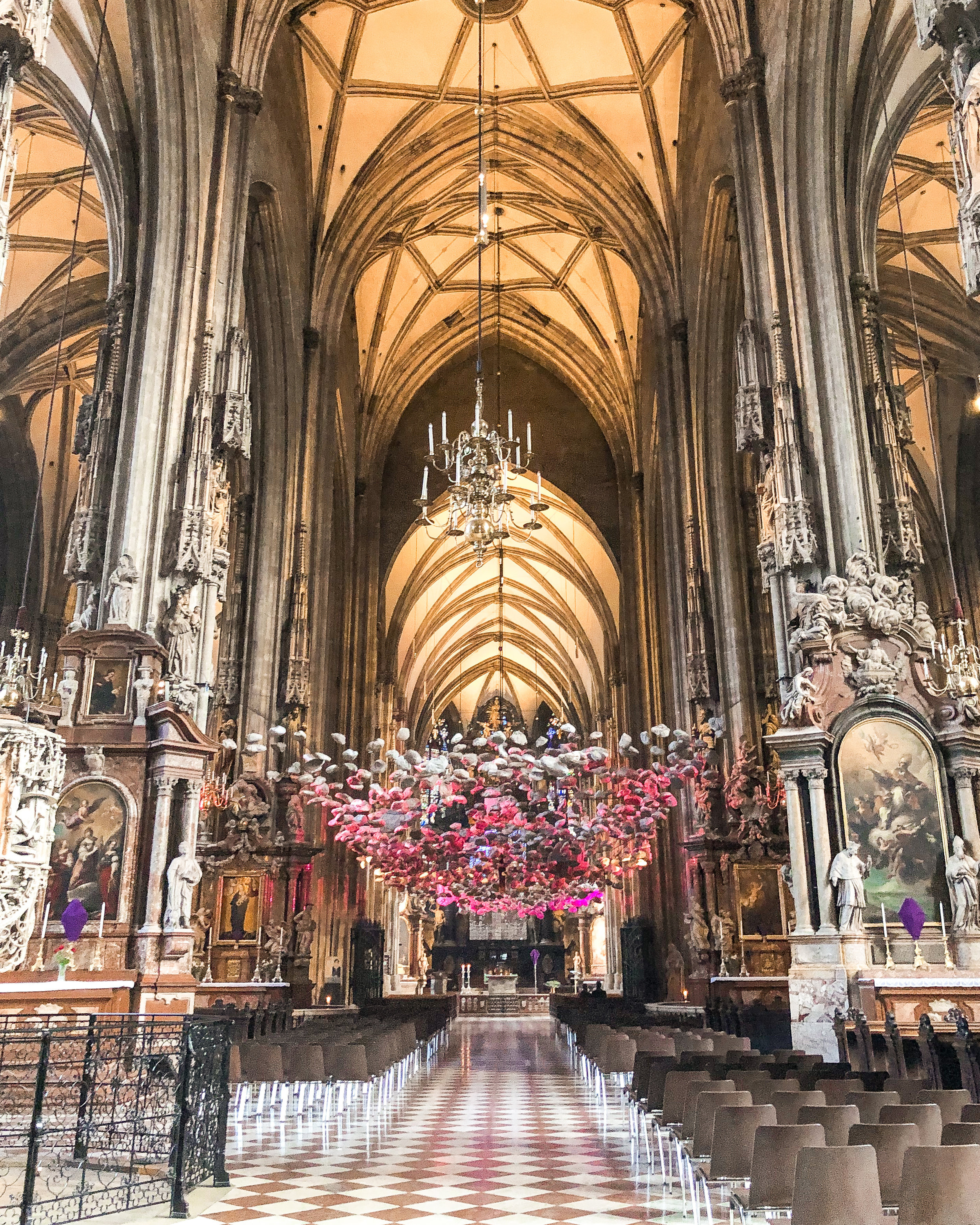 The beautiful hanging art installation inside the cathedral.