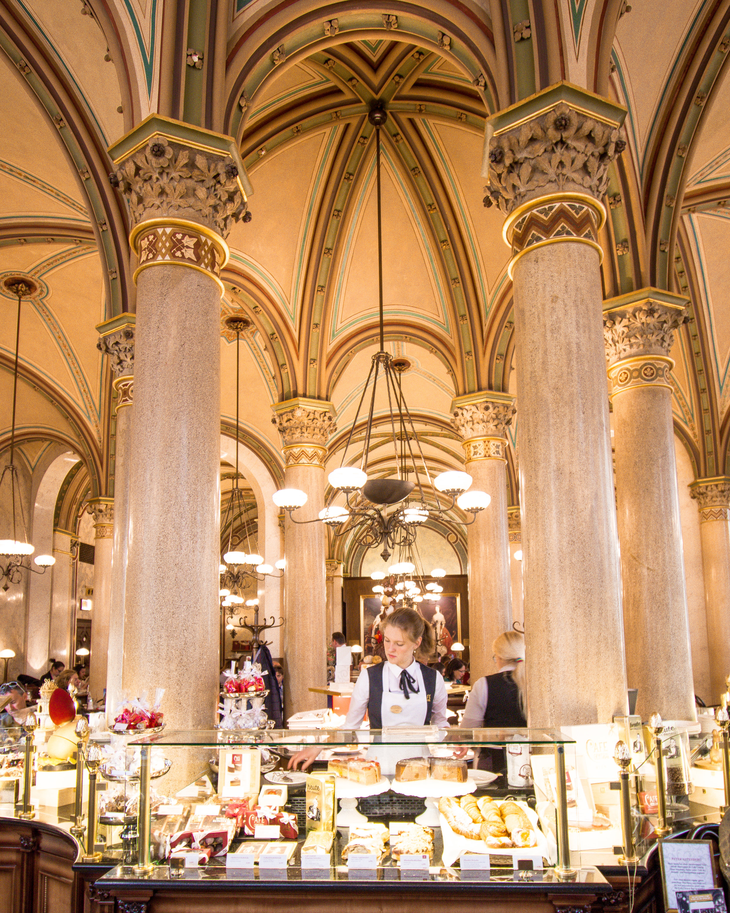The amazingly opulent Cafe Centrale serves desserts that are even more beautiful, as can be seen from the dessert case shown above