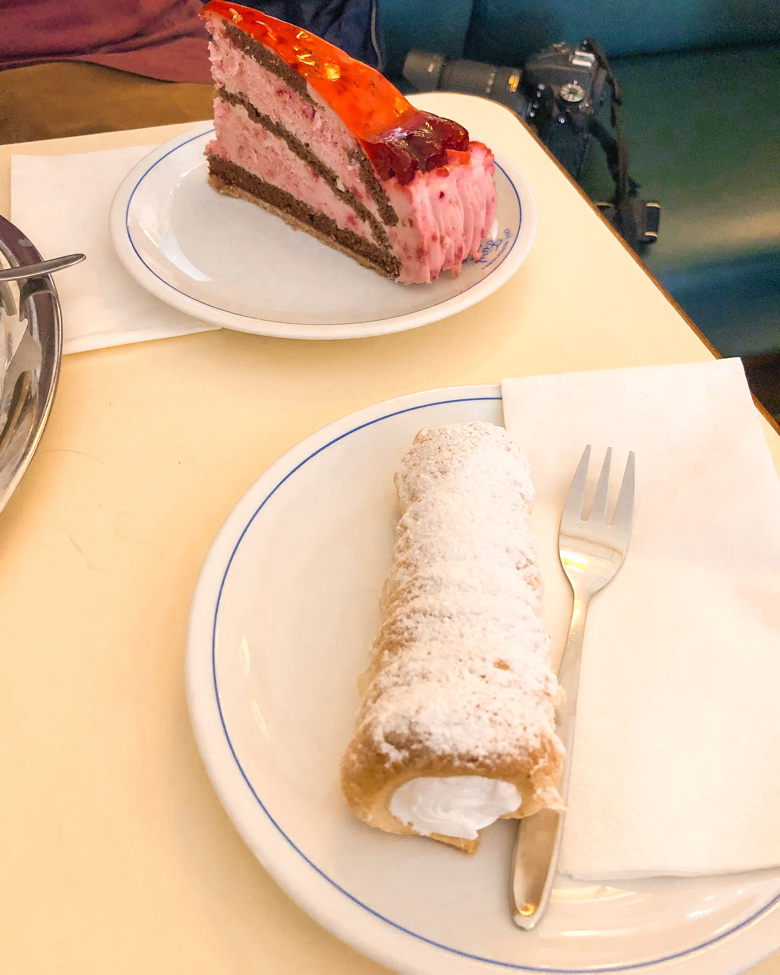 This deliciously creamy filled pastry, and the decadent strawberry cake were both gone in 2 minutes flat.