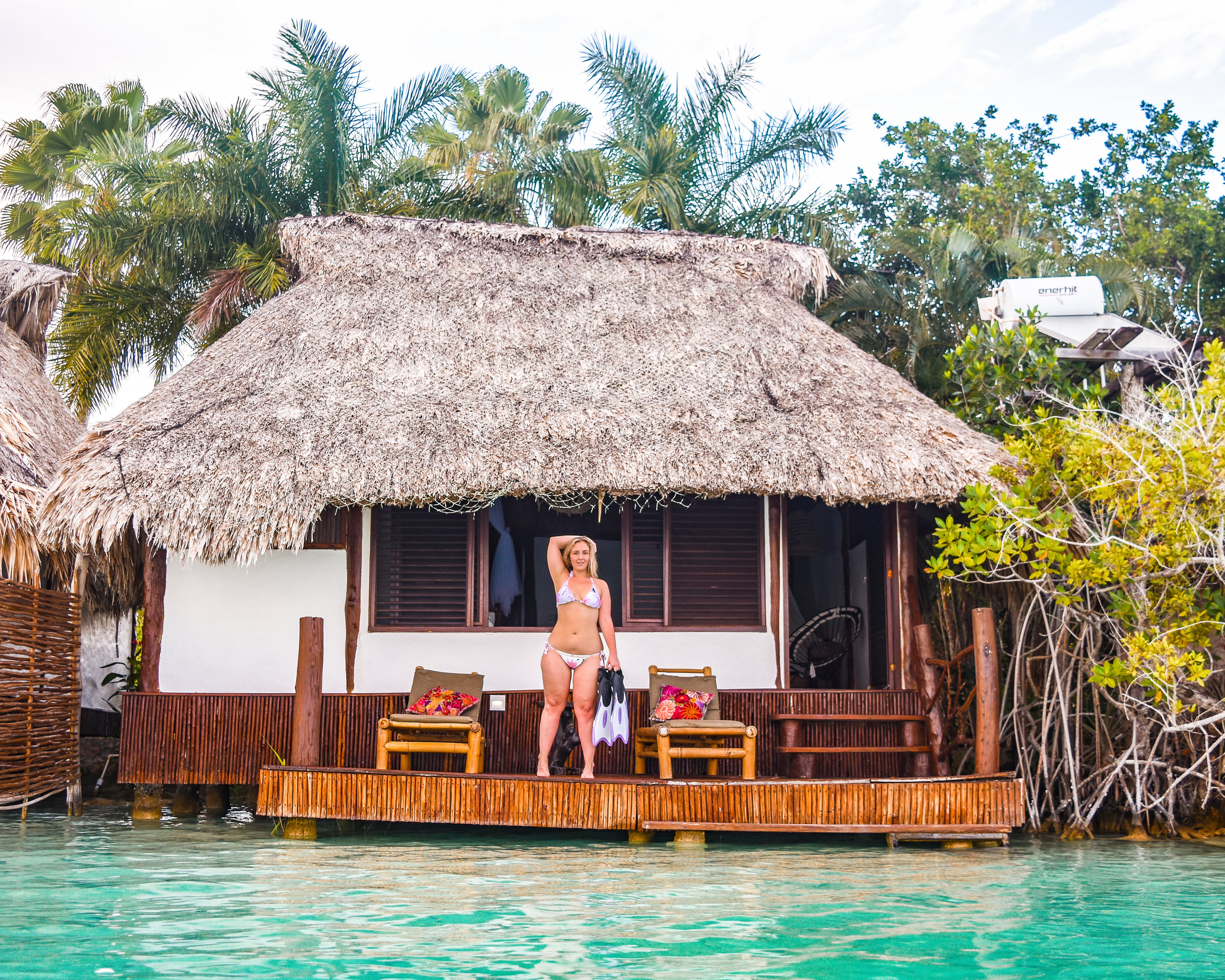 Worth every penny we pinched. One of the bungalows we stayed in at Centro Holistico Akalki in Bacalar, Mexico.