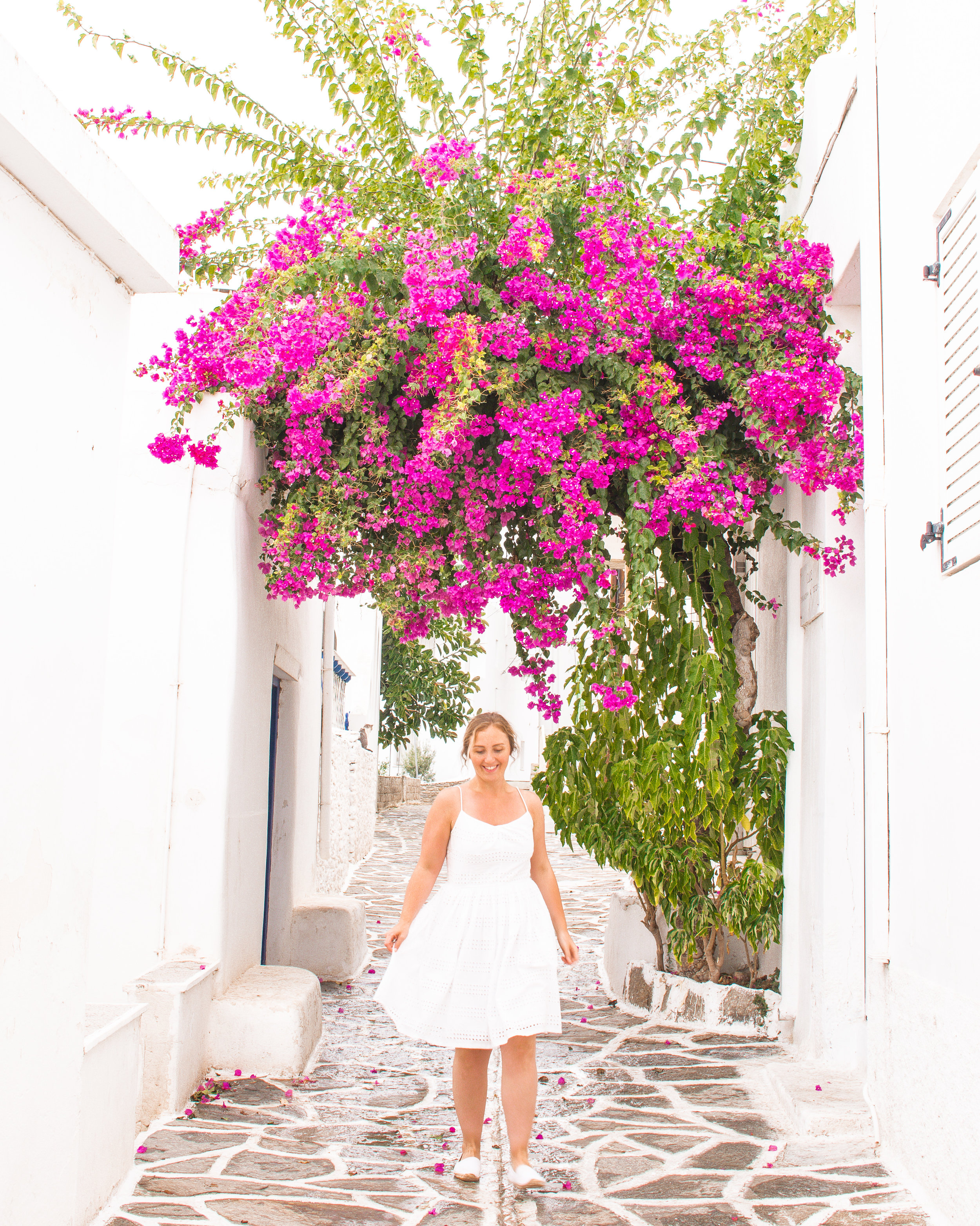 We travelled at the end of shoulder season through Greece and the Cyclades islands, and had entire streets and restaurants to ourselves!