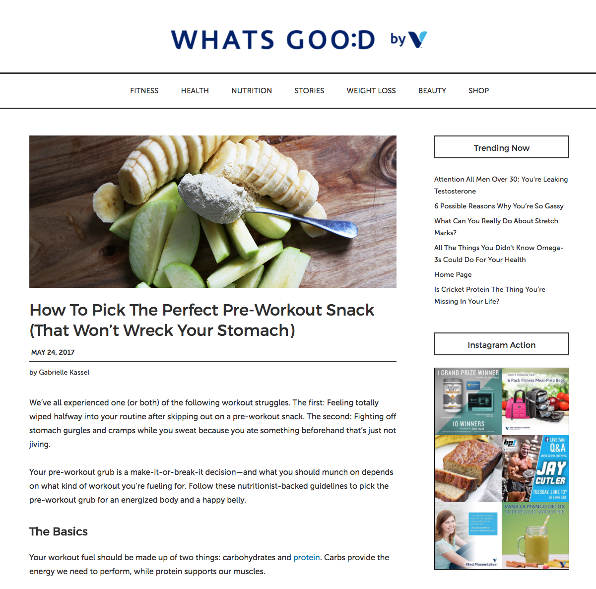 Vitamin Shoppe - Jonathan Valdez discusses carbohydrate and protein recommendations for pre-workout snacks and meals.https://whatsgood.vitaminshoppe.com/2017/05/24/pre-workout-snacks/