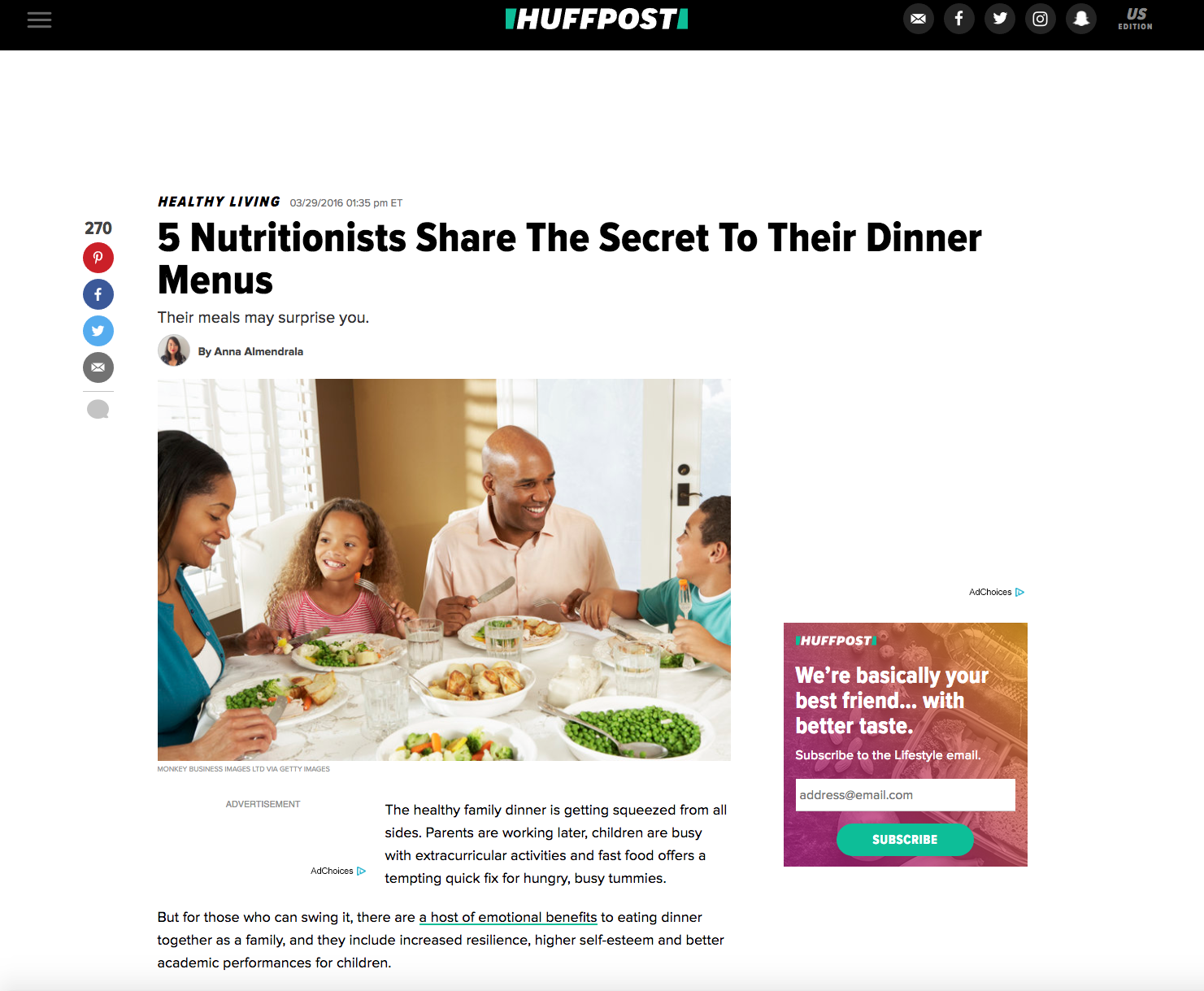 Huffington Post - Jonathan Valdez reveals his asian-fusion cuisine consumed at dinner.http://www.huffingtonpost.com/entry/five-nutritionists-share-what-inspires-their-dinner-menus_us_56f9b274e4b0a372181acbda