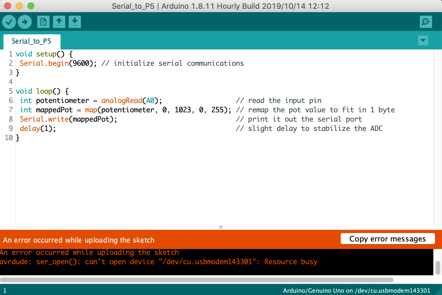 Arduino Error 2: