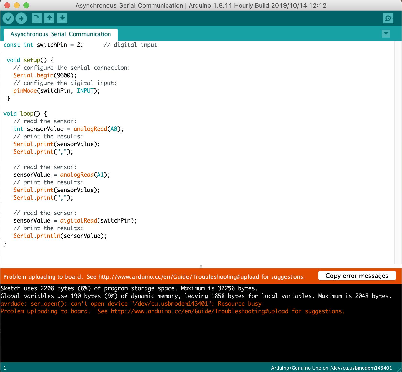 1st Arduino Error:
