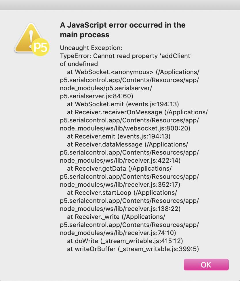 P5.js Serial Port Error: