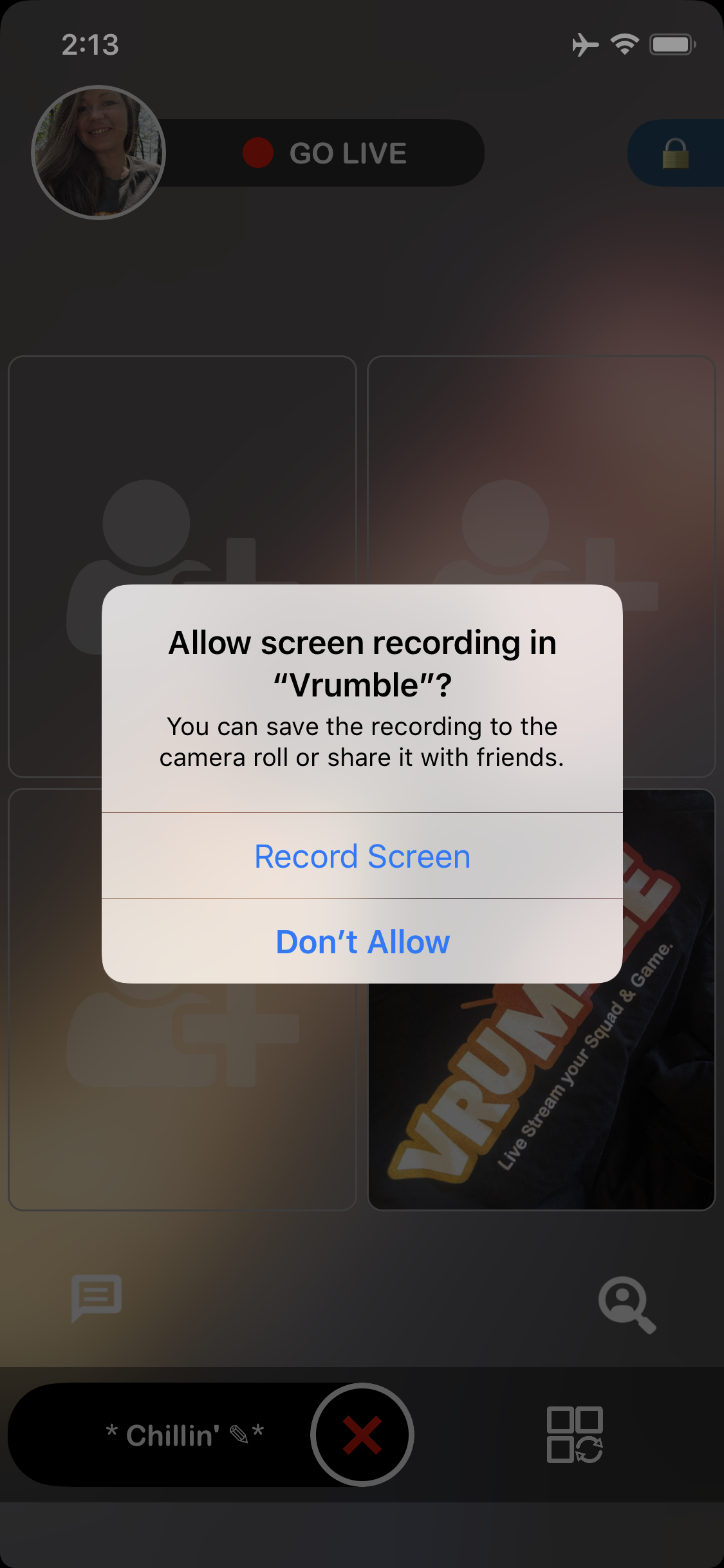 Record screen permission - Vrumble