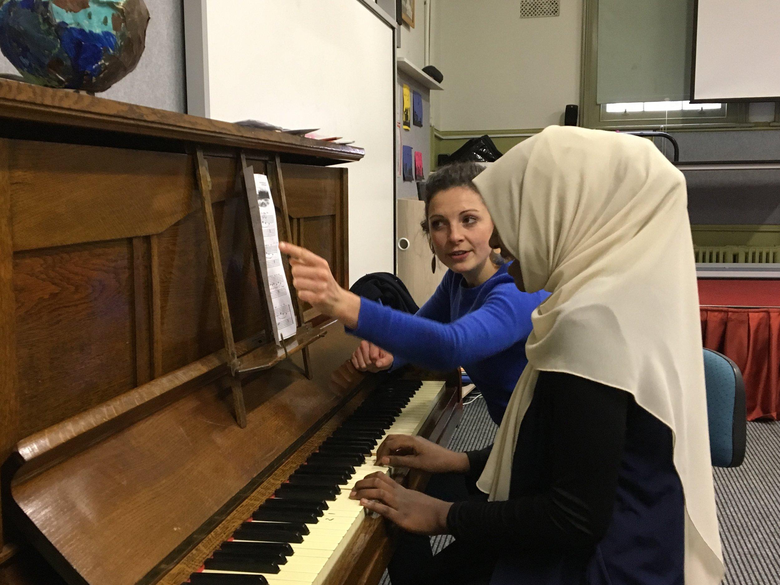 Georgina Lewis teaching at the Collingwood English Language School. Photo by Joel Carnegie.