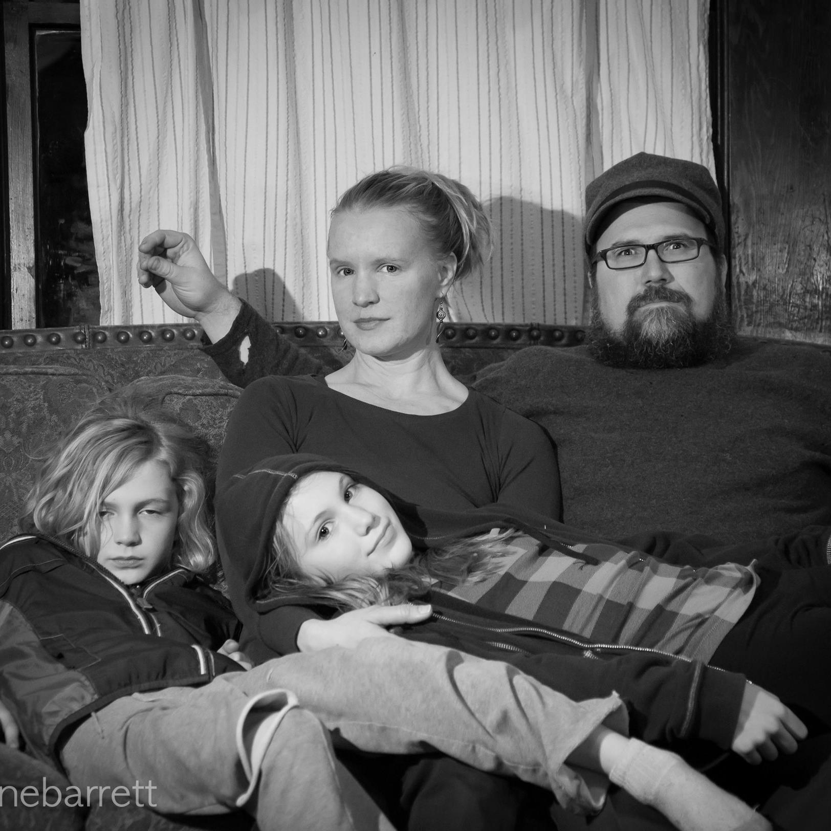 The Lanning family relaxes…for a second.