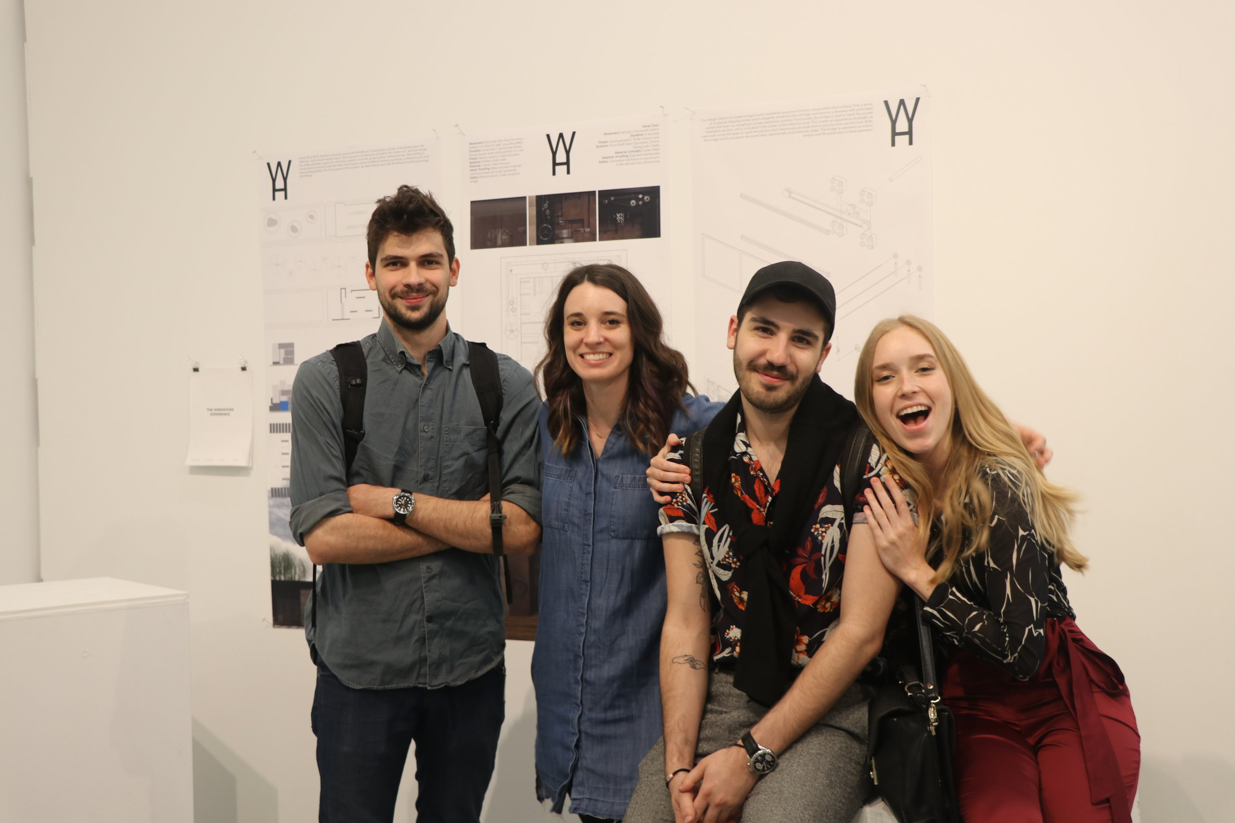 Final presentation at Emily Carr University with (left to right) Alex Zara, Alisha Camden, Kerem Dogurga (me) and Julia May.