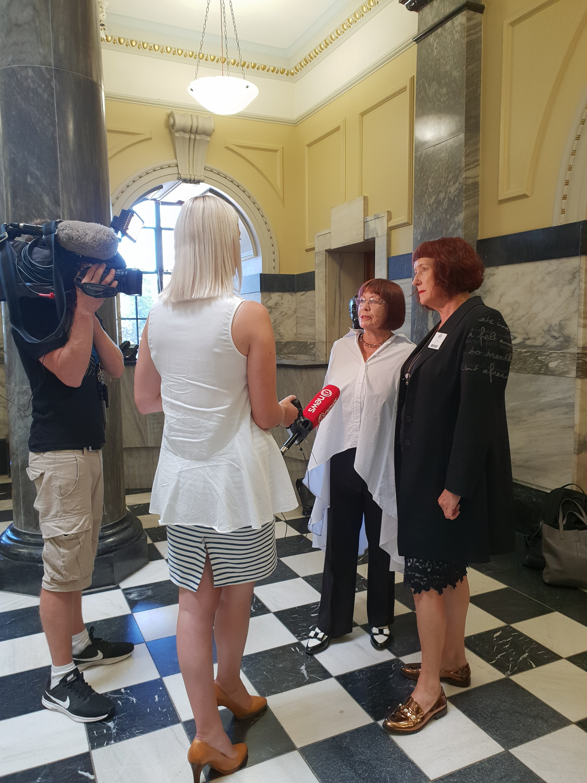 Julene Hope and Heather Hutchings, Kapiti Coast Chamber of Commerce talking with One News about Kapiti air services.
