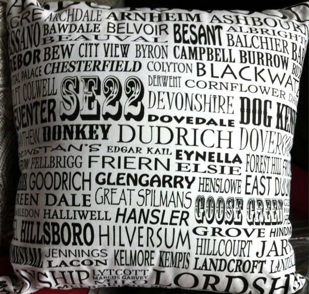Roads of London SE22 . Using the top half of   One of Fiona's   map tea towels Design No. 22.