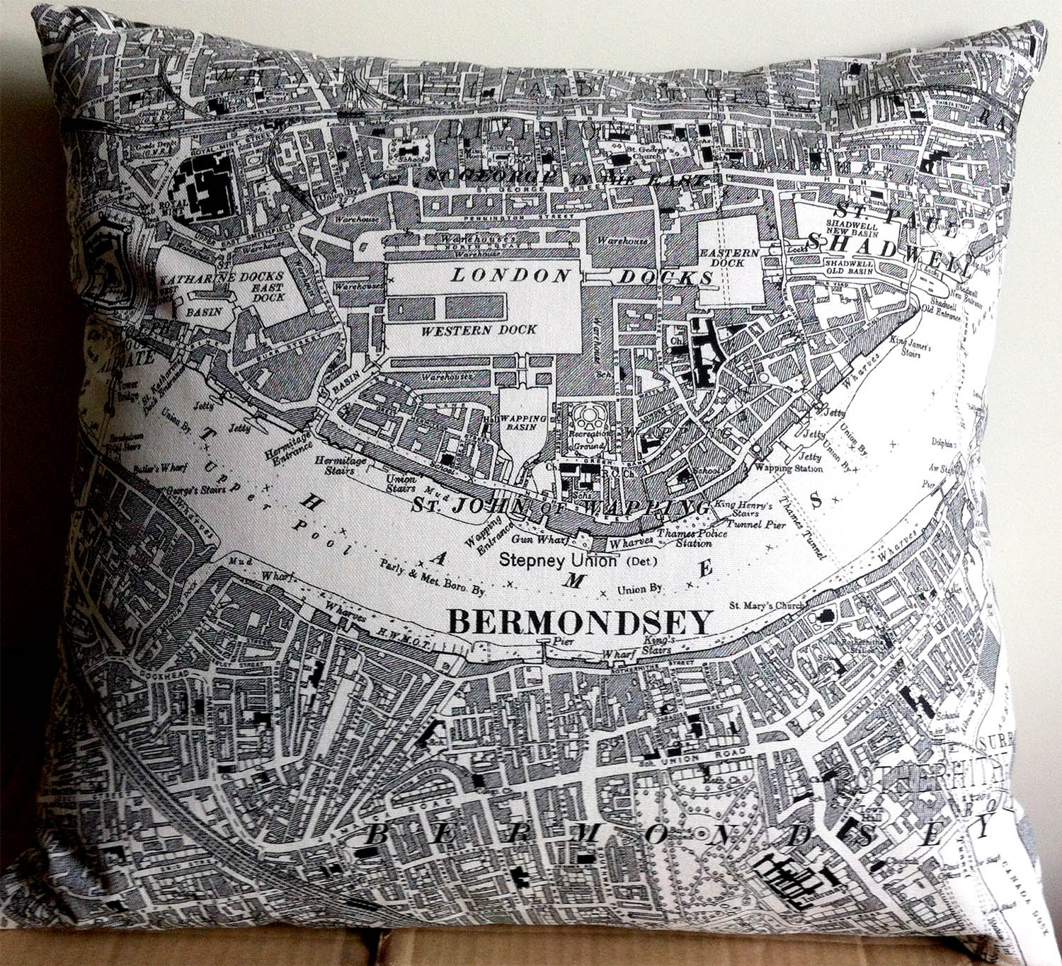 Bermondsey and London Docks.  Using middle of   One of Fiona'  s map tea towels Design No. 50.