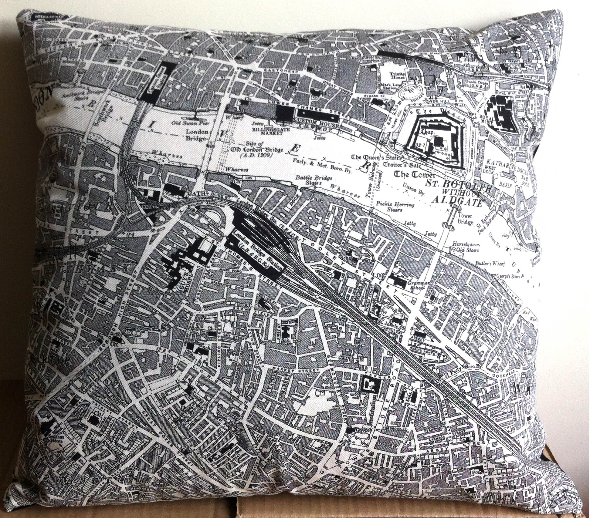 London Bridge & Bermondsey Street . Using left of   One of Fiona's   map tea towels Design No. 50