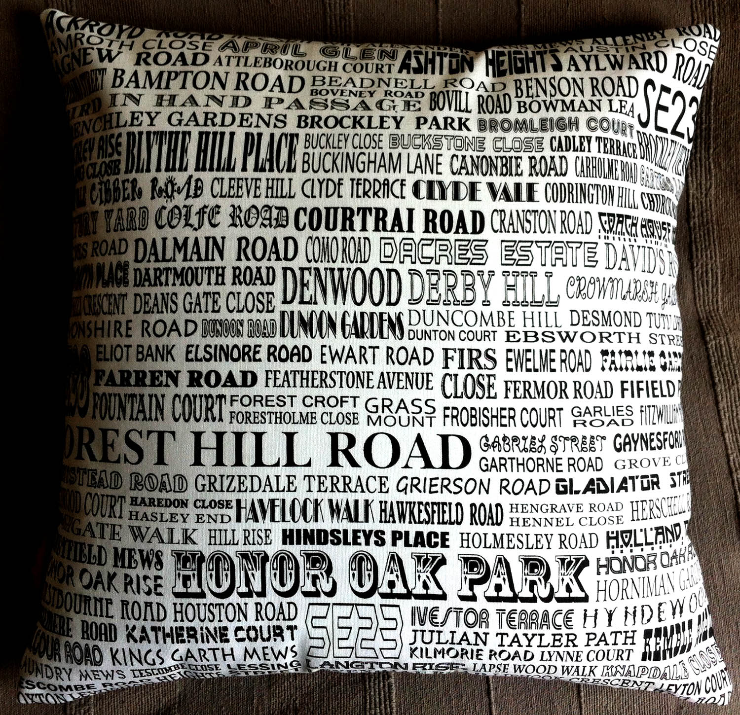Roads of London SE23 . Using the top of   One of Fiona's   map tea towels Design No. 23.